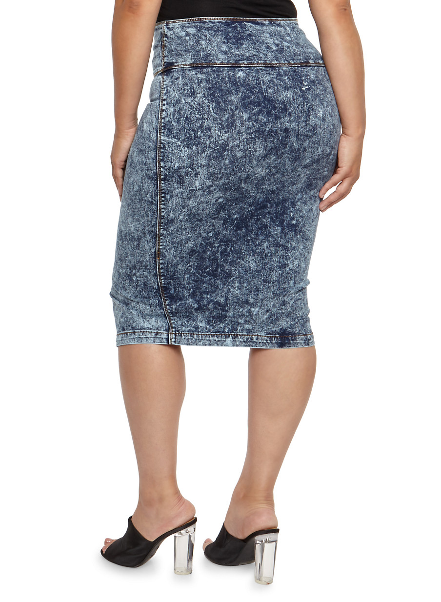 Plus Size High Waisted Acid Wash Denim Skirt - Rainbow