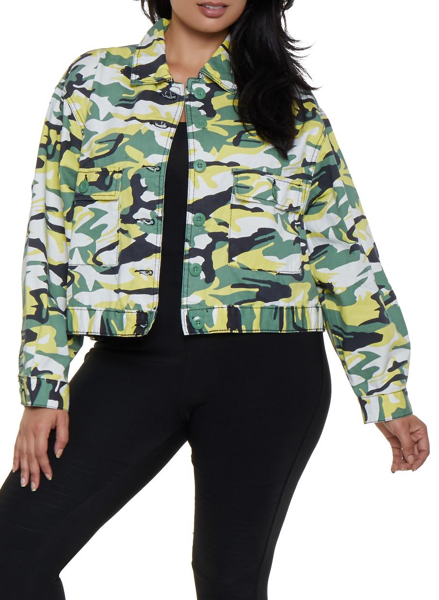 Plus Size Camo Jacket - Green - Size 2X