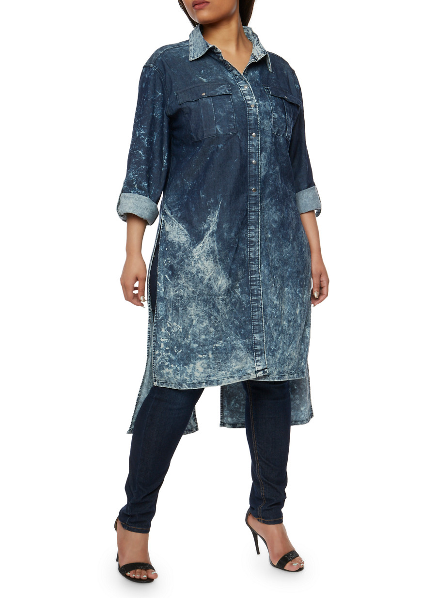 Plus Size Acid Wash Denim Tunic Shirt - Rainbow
