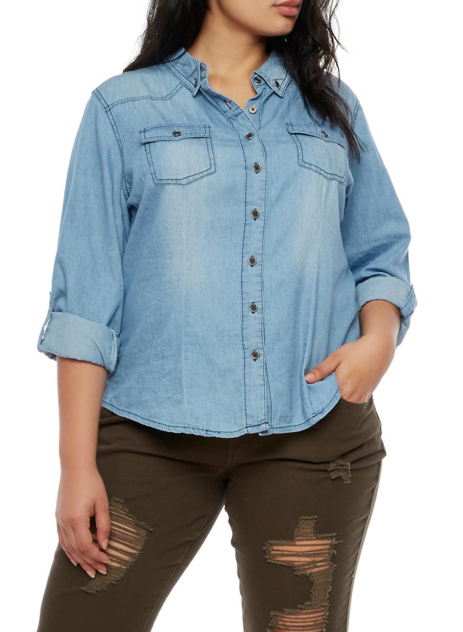plus size highway jeans long sleeve denim shirt - rainbow