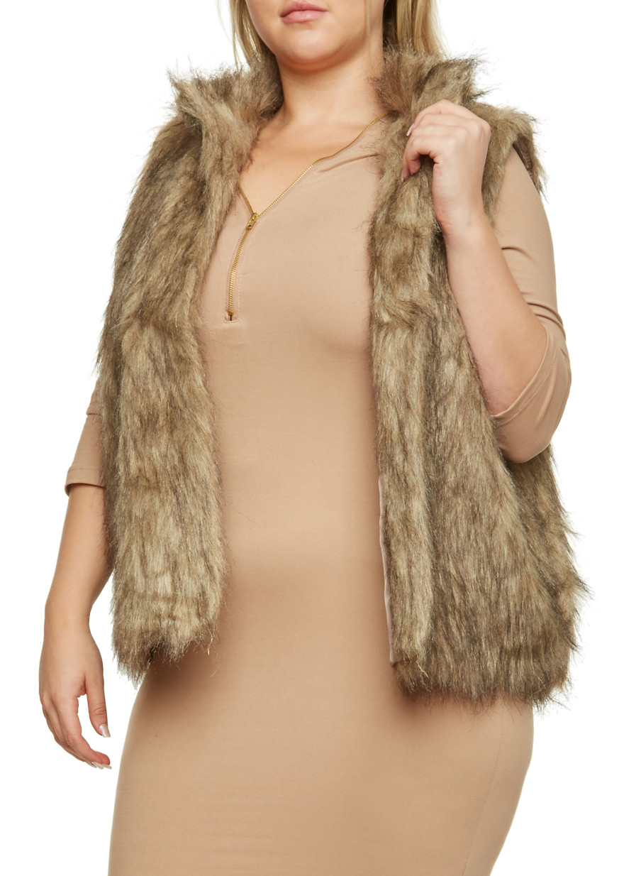 Plus Size Faux Fur Vest - Rainbow