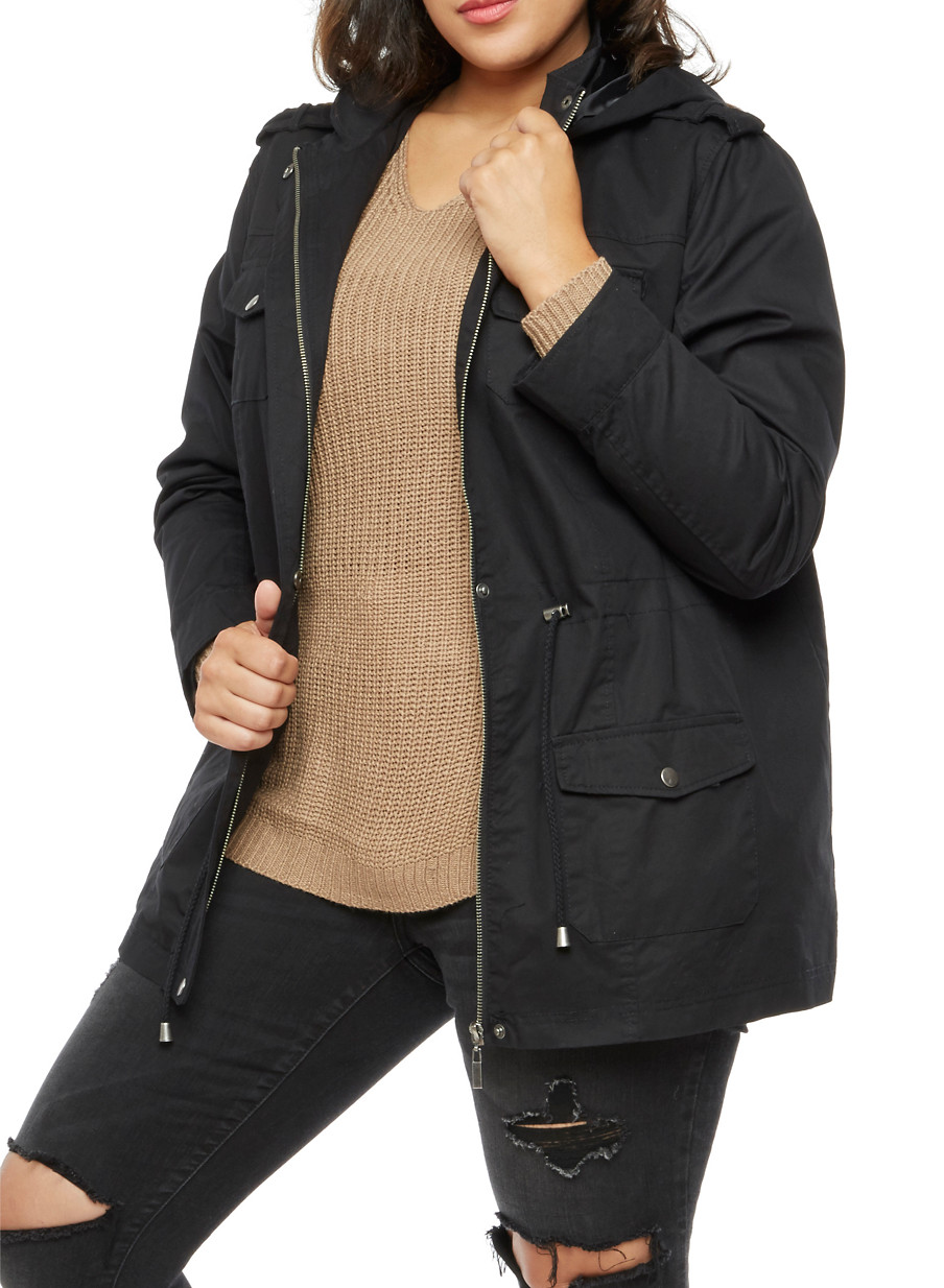 plus size solid twill anorak jacket - rainbow