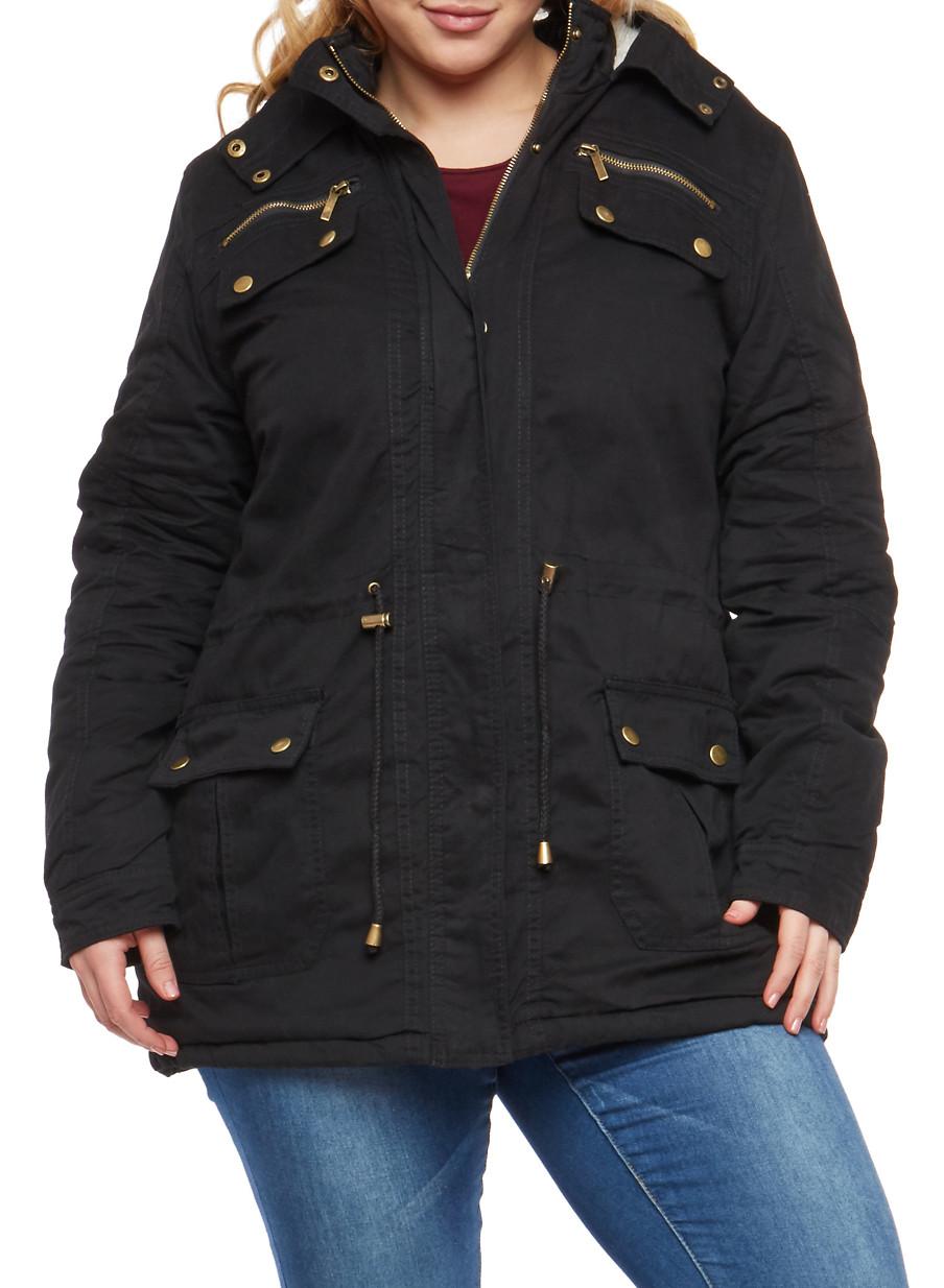plus size sherpa lined hood anorak jacket - rainbow