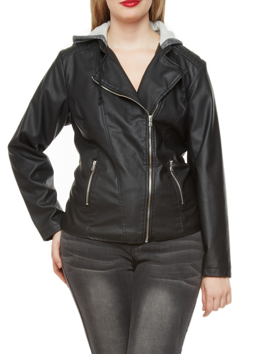 Plus Size Faux Leather Moto Jacket with Contrast Hoodie - Rainbow