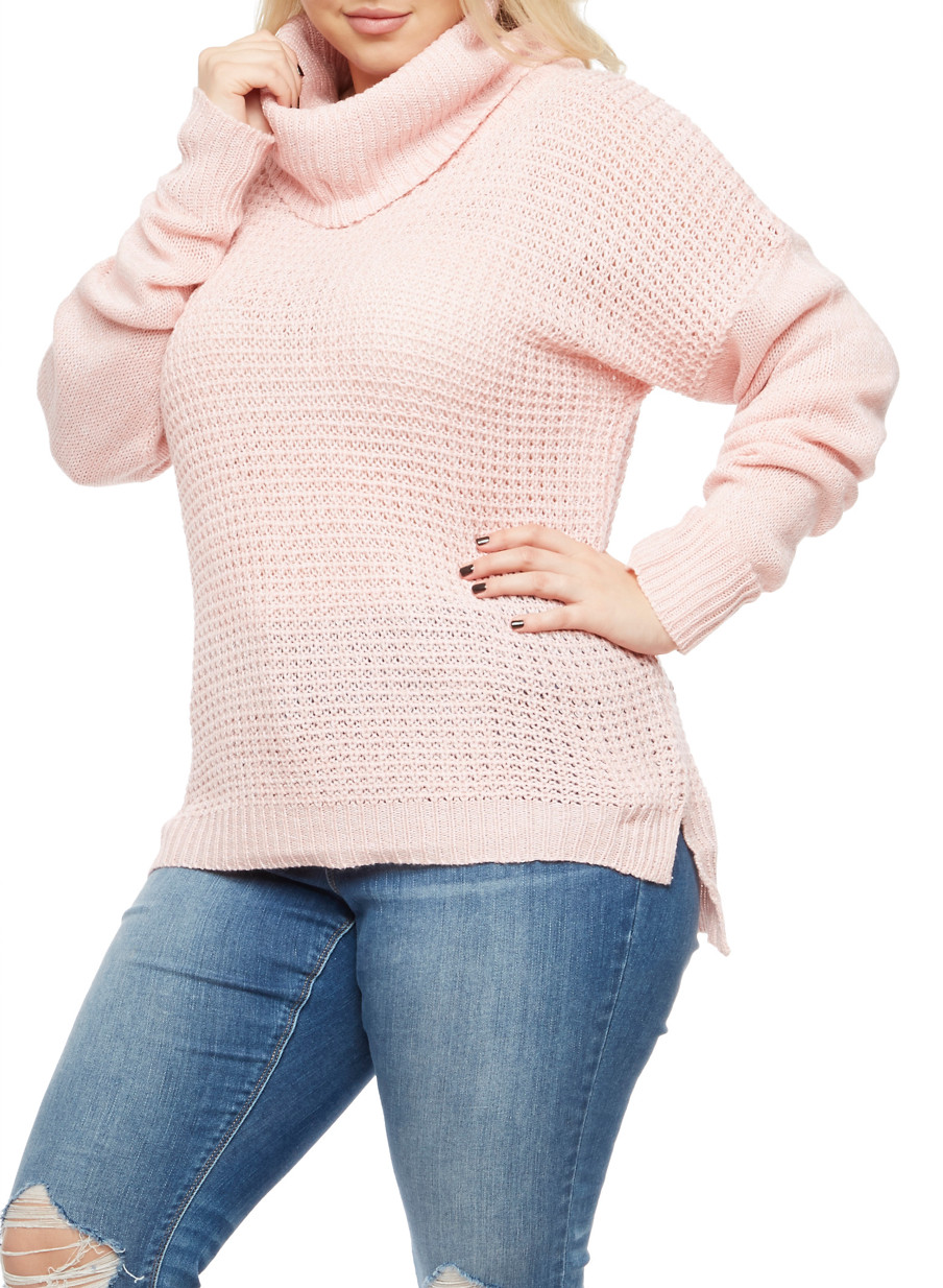 Plus Size Long Sleeve Cowl Neck Sweater - Rainbow