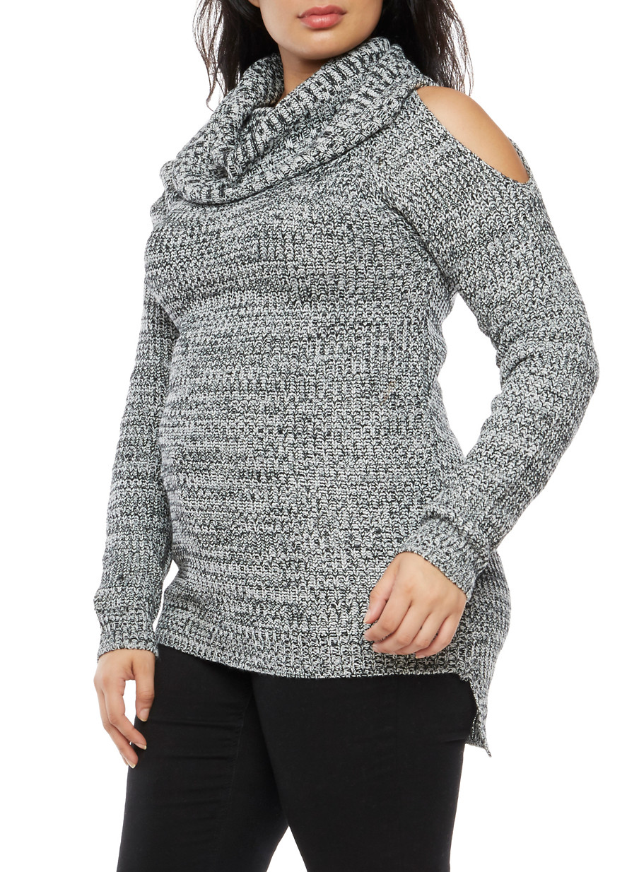 Plus Size Cold Shoulder Cowl Neck Sweater - Rainbow
