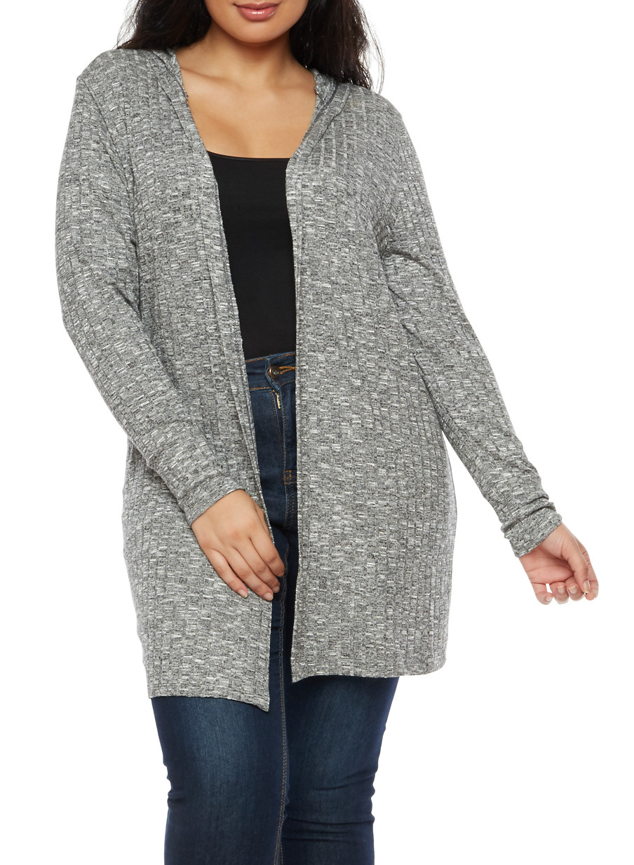 Plus Size Soft Knit Hooded Cardigan - Rainbow