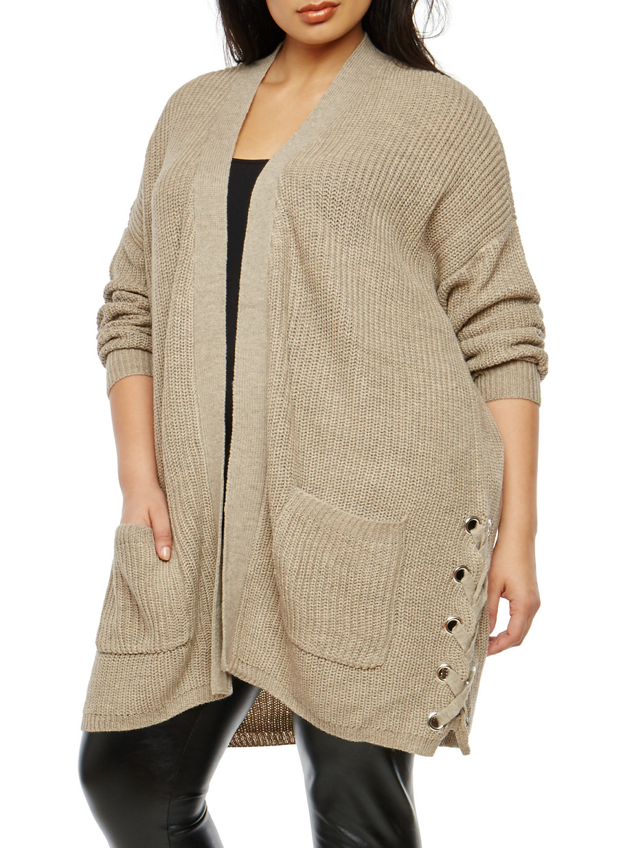 Plus Size Lace Up Side Knit Cardigan - Rainbow