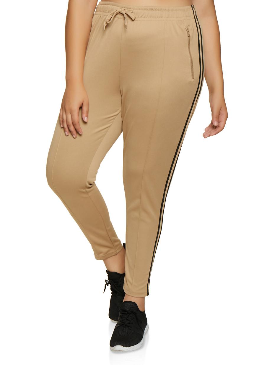 Plus Size Varsity Stripe Pintuck Track Pants - Khaki - Size 1X
