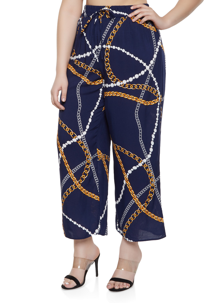 Plus Size Status Print Wide Leg Pants - Multi - Size 1X