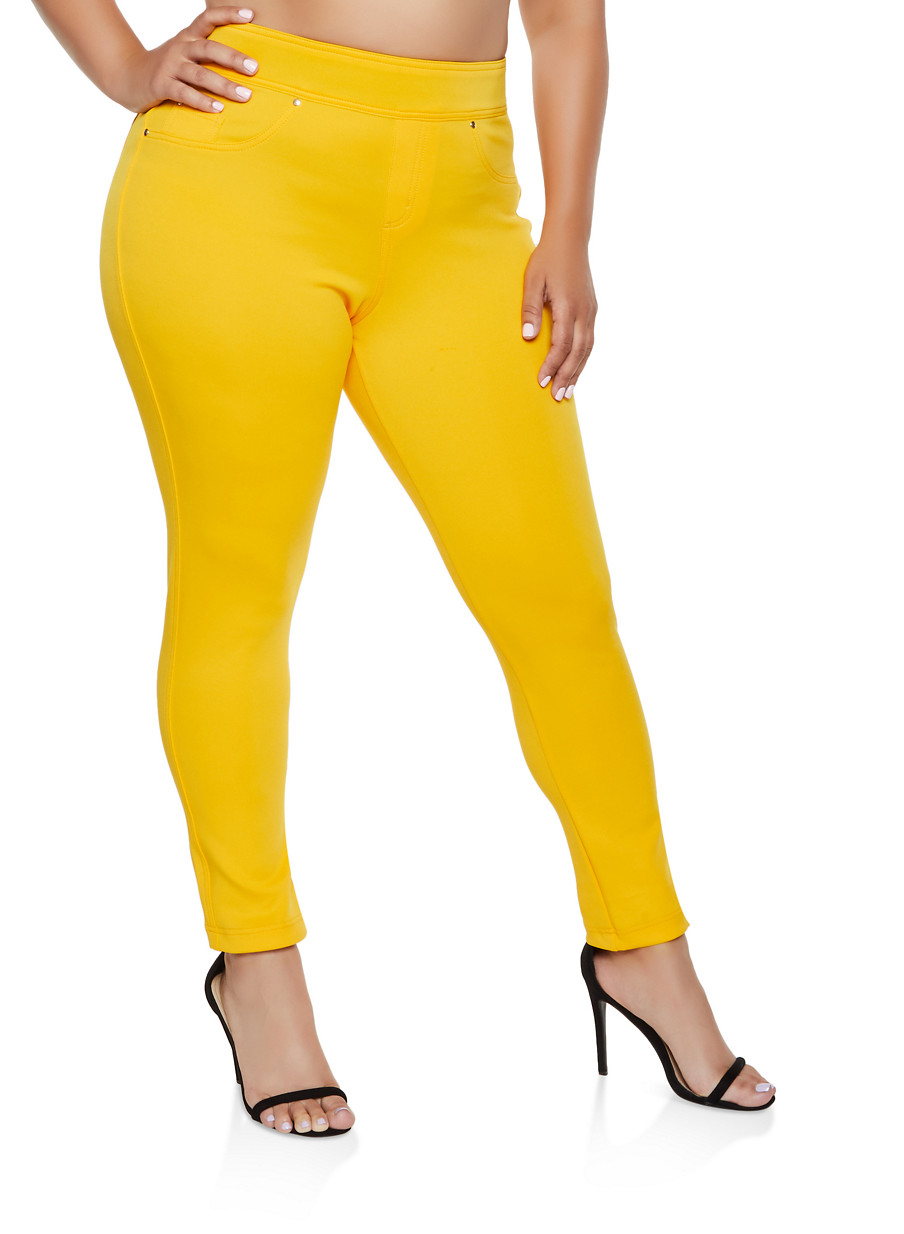 Plus Size Tummy Control Scuba Pants - Yellow - Size 2X