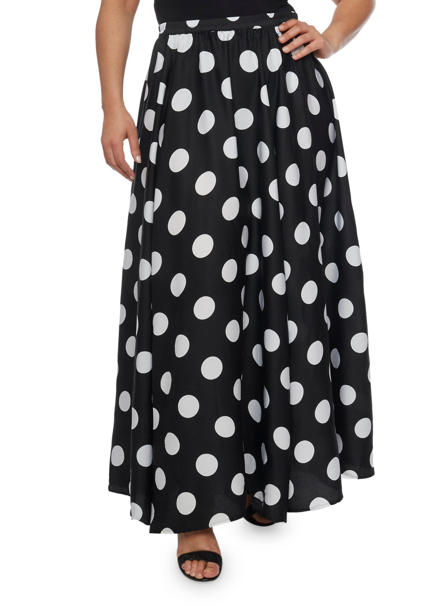 Image result for plus size polka dot skirt