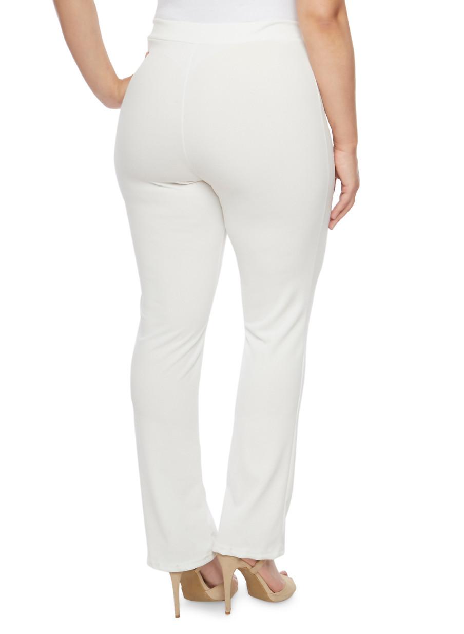Plus Size Soft Knit Dress Pants - Rainbow