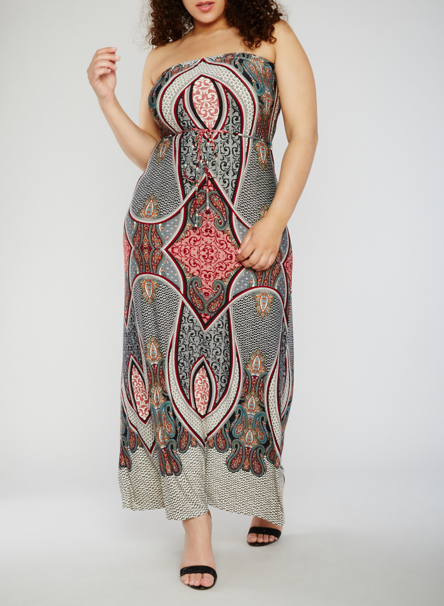 Strapless paisley maxi dress