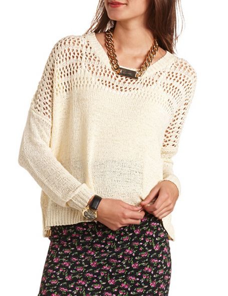 Open Stitch Pullover Sweater: Charlotte Russe