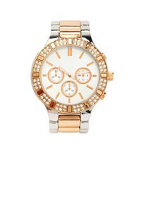Mixed Metallic Rhinestone Boyfriend Watch