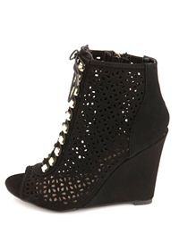 Laser Cut-Out Studded Lace-Up Peep Toe Wedges