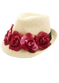 Flower-Topped Straw Fedora Hat