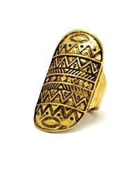 Antiqued Aztec-Etched Ring