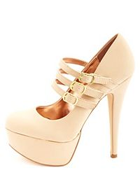 Anne Michelle Triple Mary Jane Platform Pumps
