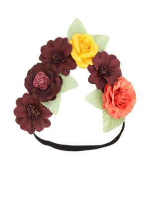 Charlotte Russe MIXED ROSE FLOWER CROWN HEAD WRAP