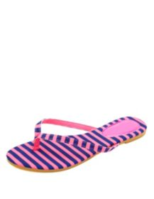 Neon Striped Thong Sandals
