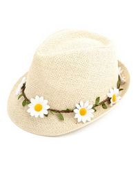 Daisy-Crowned Straw Fedora Hat