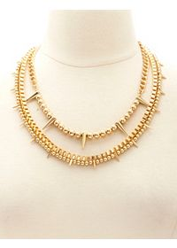 Triple Layered Spike & Chain Necklace