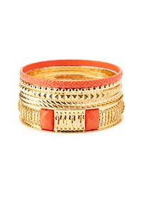 Coated, Studded & Twisted Bangles - 6 Pack