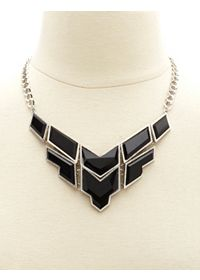 Faceted Geometric Stone Bib Necklace