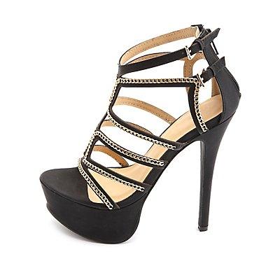 Chain-Embellished Strappy Platform Heels