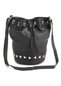 Studded Faux Leather Bucket Bag