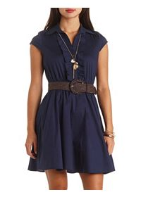 Open Back Belted Ruffle Shirt Dress