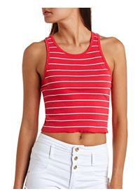 Striped Ribbed Racerback Crop Top