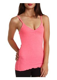 Ruched V-Neck Ribbed Tank Top