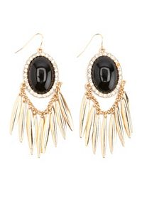 Dangling Smooth Stone & Fringe Earrings
