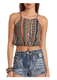 Printed Strappy Halter Crop Top