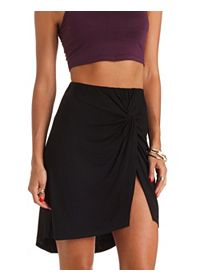 Knotted Slit High-Low Skirt