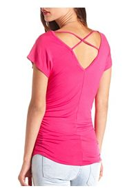 Ruched Strappy-Back Dolman Tee