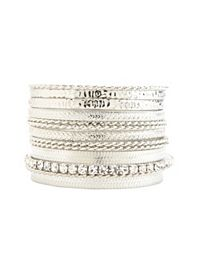 Textured, Twisted & Rhinestone Bangles - 10 Pack