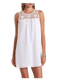 Mesh Yoke Beaded Chiffon Shift Dress