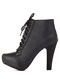 Platform High Heel Lace-Up Booties