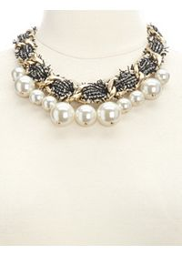 Oversized Pearl & Tweed Statement Necklace