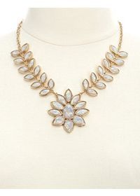 Leafy Faceted Opal Bib Necklace