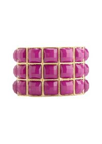 Faceted Stone Stretch Cuff Bracelet