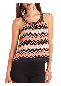 Embellished T-Back Chevron Print Tank Top