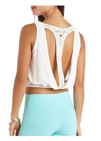 Embellished Racerback Plunging Surplice Crop Top
