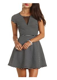 Mesh Cut-Out Striped Skater Dress
