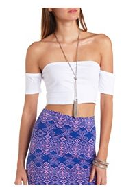 Fitted Off-the-Shoulder Crop Top