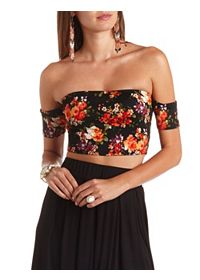 Floral Print Off-the-Shoulder Crop Top